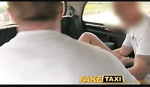 Horny young swingers in taxi cab threesome